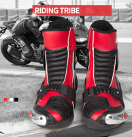 Motorcycle Boots High Ankle Racing Boots Leather Race Motocross Motorbike Riding Boots Shoes Red Men Size 40/41/42/43/44/45