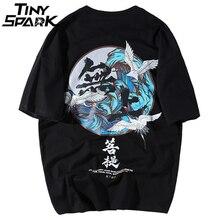 Buddha Crane Print T Shirts Mens Hip Hop T-Shirt Chinese Character Casual Tops Tees 2018 Summer Harajuku Streetwear Tshirt Black