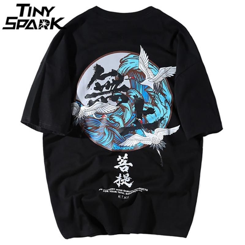 Buddha Crane Print   T     Shirts   Mens Hip Hop   T  -  Shirt   Chinese Character Casual Tops Tees 2018 Summer Harajuku Streetwear Tshirt Black