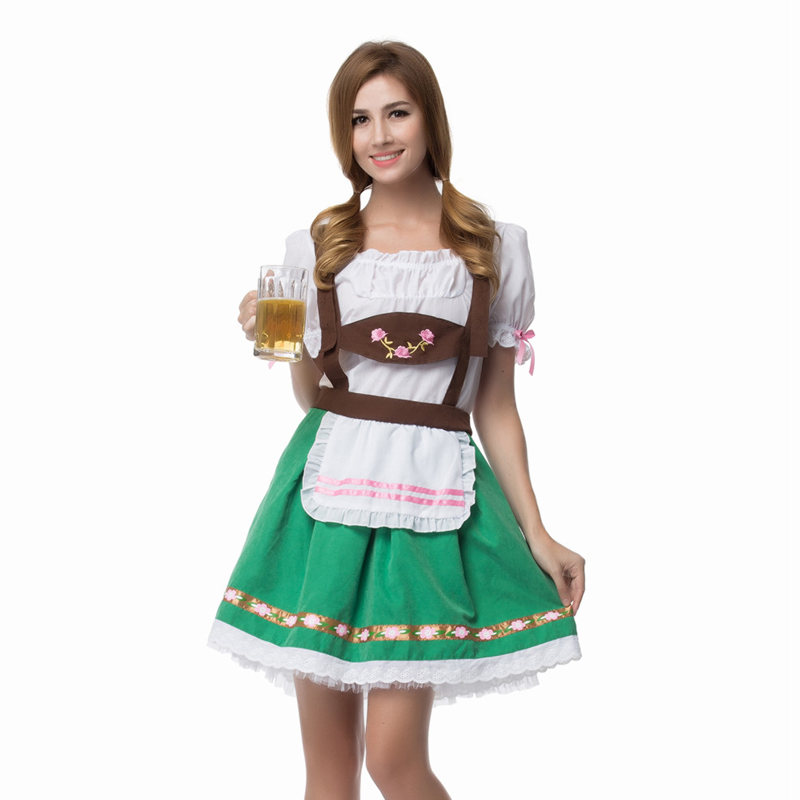 Vocole Women Oktoberfest Beer Girl Costume French Maid Uniform Canival Party Fancy Dress