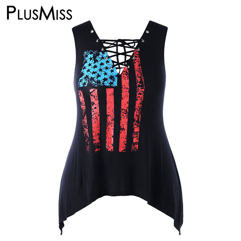 PlusMiss Plus Size 5XL Punk Rock V Neck Lace Up Tank Top Women Big Size Black American USA Flag Print Vest Ladies Summer 2018