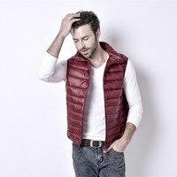 Uwback 2016 New Brand Colete Masculino 90 White Duck Down Light Vest Men Plus Size Slim