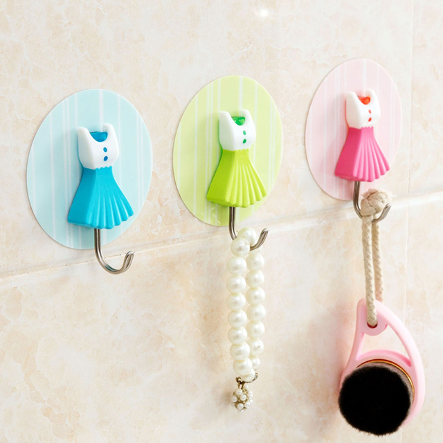Self Adhesive Hooks Bathroom Kitchen Towel Robe Hook Decorative Stick Wall  Clothes Hangers Girl Home Kitchen