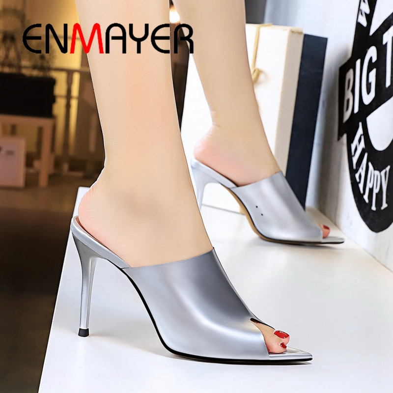 ENMAYER  2019 New Arrival PU Summer Super High Fashion Sexy Women Slippers Solid Outside Womens Size 34-40 LY2308