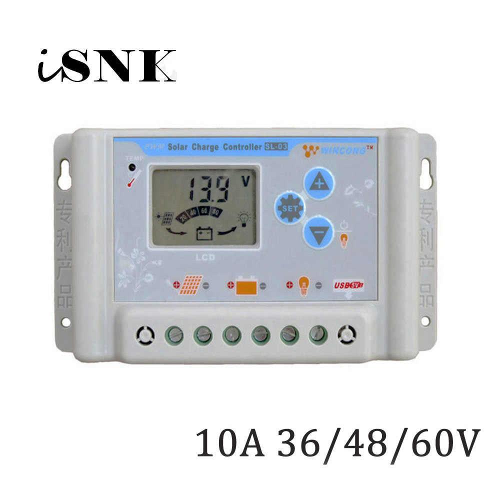 10A е-байка 36В 48В 60В LI-зарядное устройство для литий-ионного, LiFePO4 сотовый Батарея Панели солнечные контроллеры заряда Регулятор USB зарядное устройство для мобильного телефона
