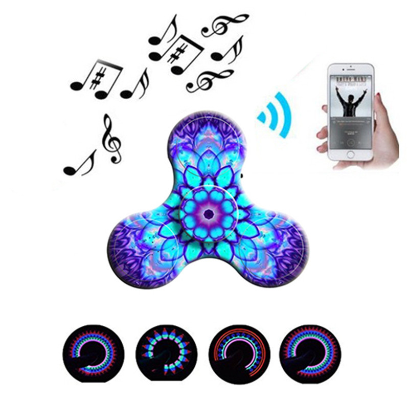 Fingertip Gyro Decompression Fidget spinner Toys Creative LED Mini Bluetooth Speaker Music Fidget Spinner EDC Hand