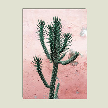Nordic Marble Print Pink Cactus Wall Art Canvas Painting Pictures For Living Room Unframed