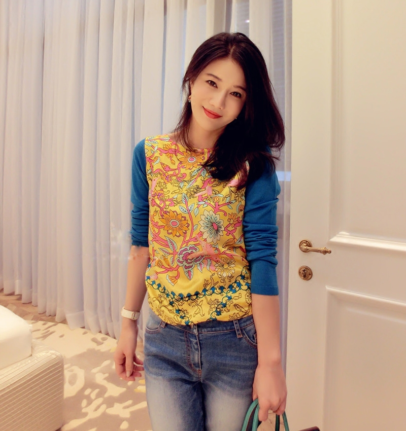 KENVY Brand fashion womens high-end luxury silk print Slim thin knitted cardigan sweater ...