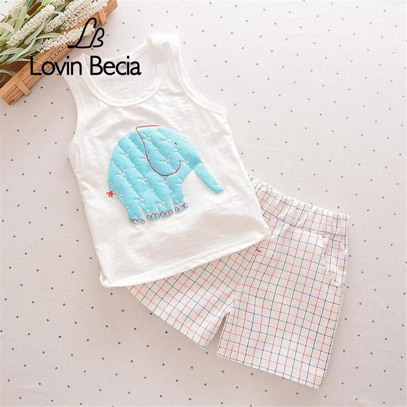 Sale 2pcs/ sets Baby boys Girls Summer Clothing Set Children Cute Elephant Vest lattice Pants Kids Suits shorts clothes