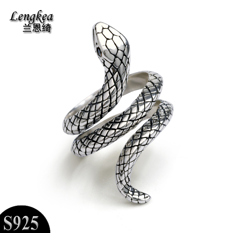 Free shipping,female/male 925 silver vintage snake adjustable ring ...