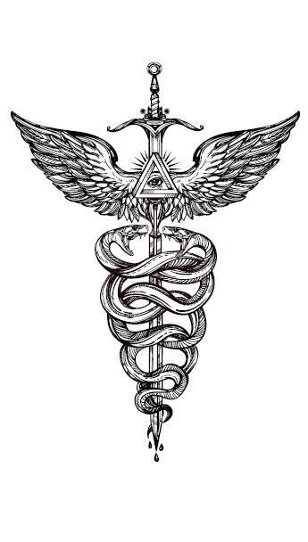 Waterproof Temporary Fake Tattoo Stickers Grey Sword Snake Wings Cool Design Body Art Make Up Tools