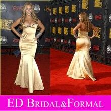 Beyonce Gold Kleid bei American Music Awards Roter Teppich Sexy Meerjungfrau Promi Abendkleid Abendkleid vestido sereia