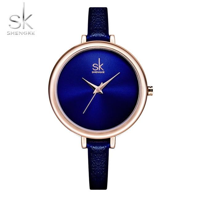 fccfef74b Shengke 2017 Women Watches Luxury Ladies Wrist Watch Royalblue Thin Leather  Band Quartz Watch High Cost