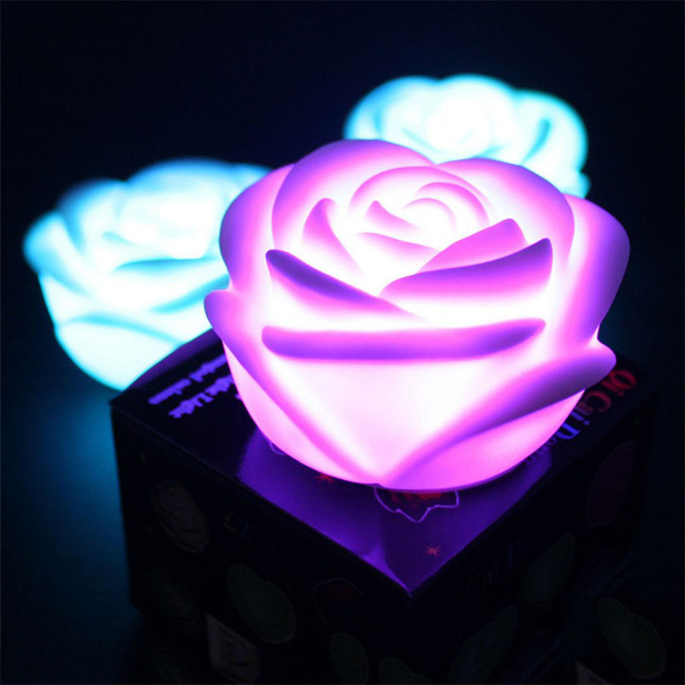 Childrens colour changing lights - Christmas Party Romantic Rose Flower Led Light Night Luminaria Led Color Change Nightlight Children S Lamp Battery