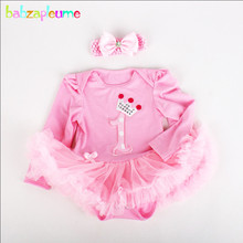 2PCS/0-12Months/Newborn Clothes Baby Girls Bodysuits Long Sleeve Jumpsuits 1st Birthday Tutu Dresses Infant Clothing Sets BC1294