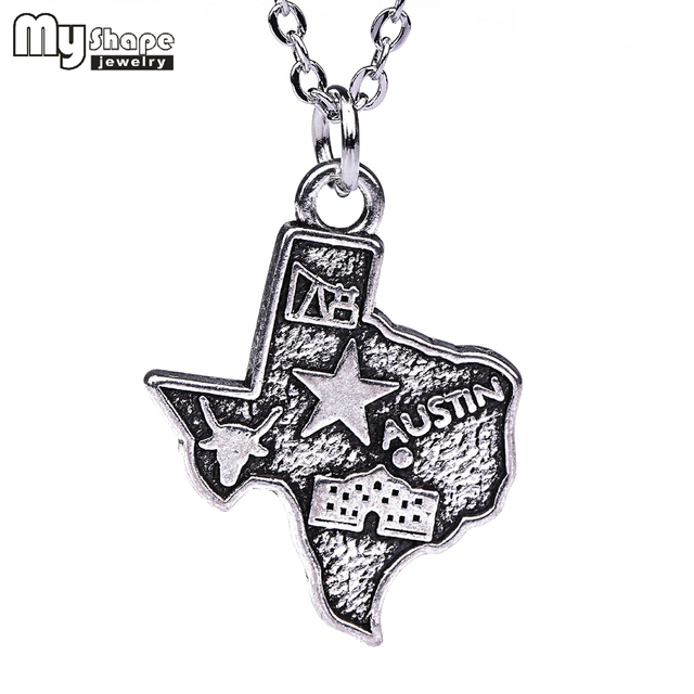 Outline Of Texas Map.My Shape 3 Styles Outline Texas State Necklace American Map Necklace