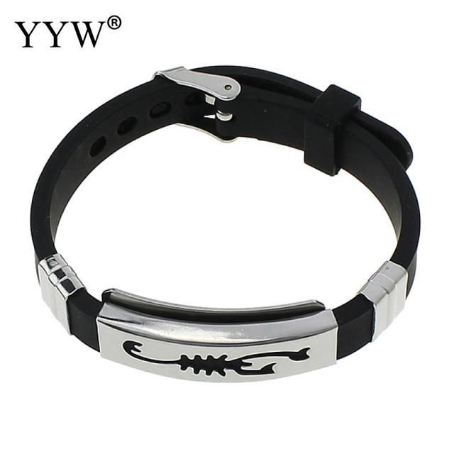 Yyw Fashion Scorpion Silicone Bracelet For Men Adjule Stainless Steel Wristband S Bangles