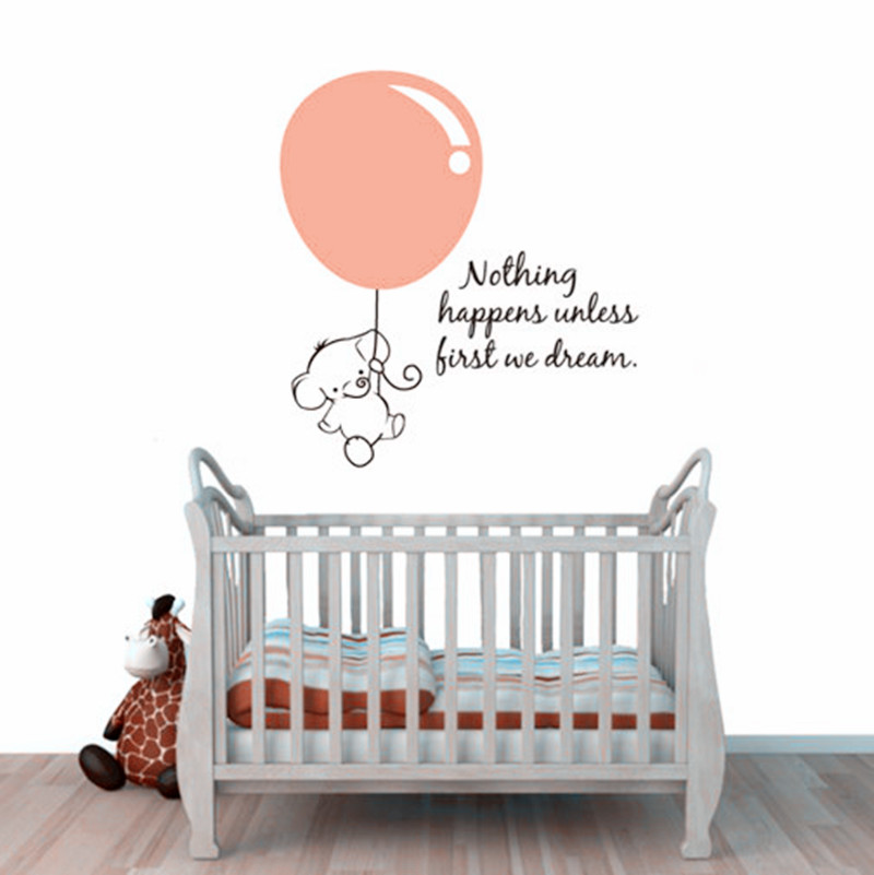 Cute Elephant Wall Stickers Baby Pulled Balloon Decals Bedroom Art Decor Personalized Room Decorations In From Home
