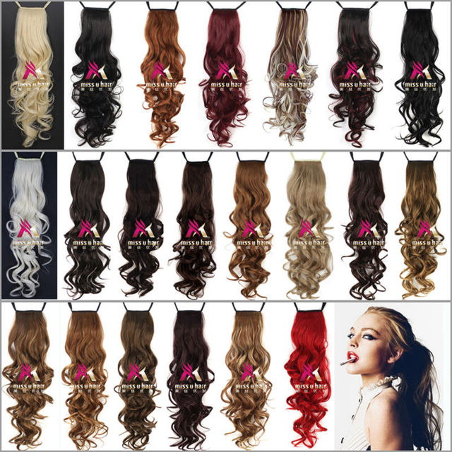 24 inch 60 cm Long Curly Ribbon Ponytails Clip in Hair Extensions Ponytail Synthetic Hairpiece accessories 20colors