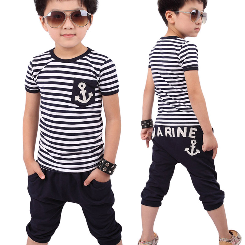 New Fashion Summer Children Clothing Boys Navy Striped T-shirt with Pants Suits Casual Kid Boy Clothes Sets navy style boys t shirts 2016 new spring fake two pieces striped patch kids t shirt brand boy clothes casual children clothing