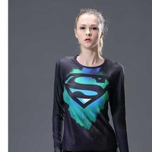 Women compression shirt tights lengthy sleeve health t-shirt garments train Superman Batman tees & tops plus measurement