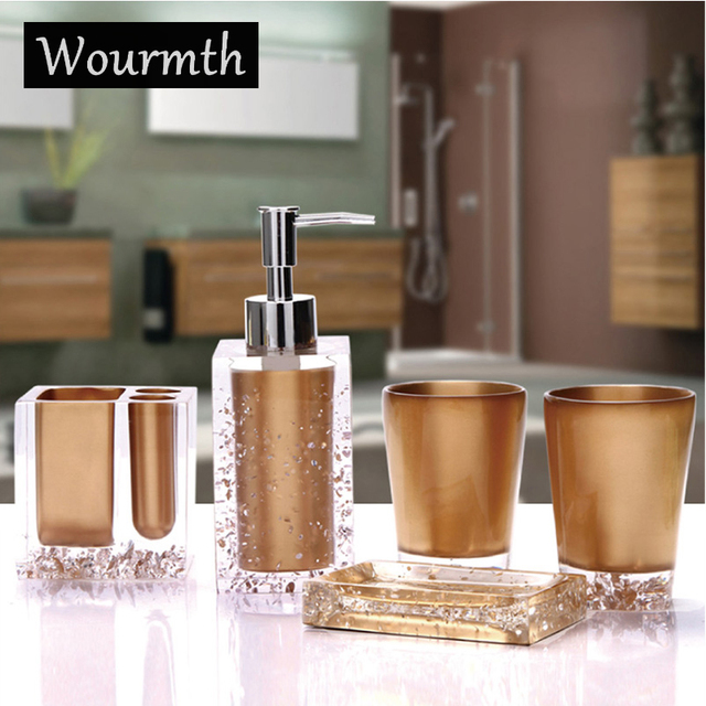 Wourmth Fashion quality resin bathroom five pieces set sanitary ware kit bathroom wash set bathroom set