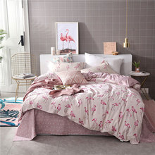 Pink Flamingo 4pcs Kid Bed Cover Set Cartoon Duvet Cover Adult Child Bed Sheets And Pillowcases Comforter Bedding Set 2TJ-61002 nightmare before christmas 4pcs bedding set duvet cover bedspread pillowcases