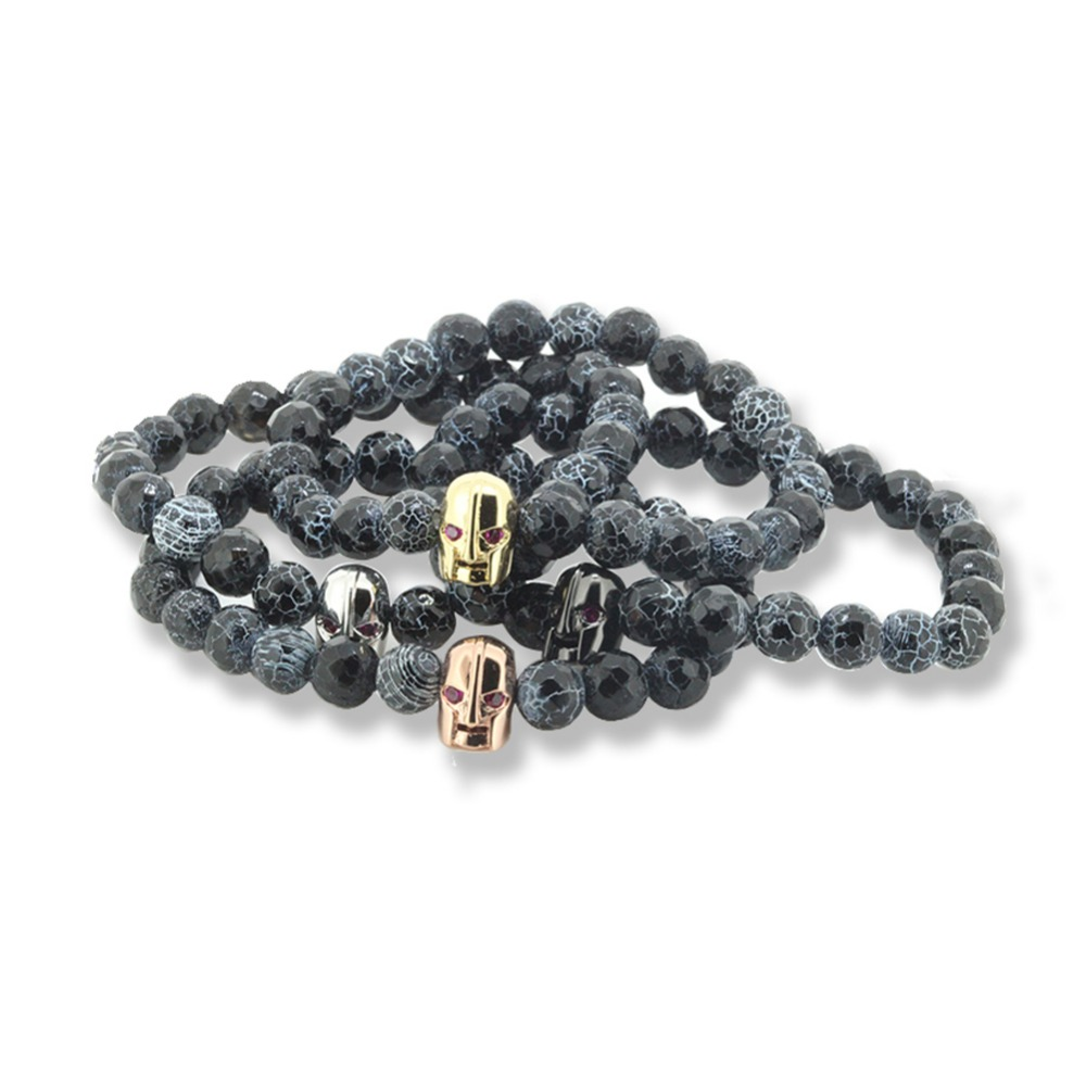 2016 New Design Beaded Bracelets , Natural Crack Stones with the 24K Skull head for Fish ...