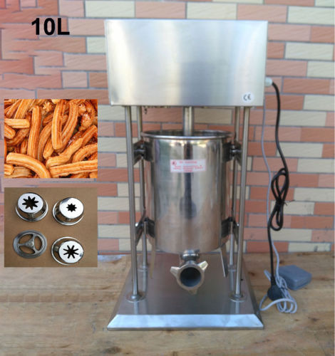 Free Shipping 10L Commercial Electric Auto Spanish Donut Churrera Churro Filler Maker Machine commercial 5l churro maker machine including 6l fryer