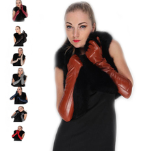 women elbow long warm fashion real leather gloves multi colors