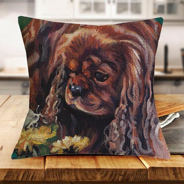 Cavalier King Charles Spaniel Dog Cuscino Copre Divano Sedile Cuscini Home Decor Decorativo Lino 43*43 centimetri