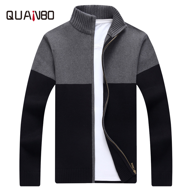 QUANBO Brand Men's Clothing Cardigan Men Sweaters 2018 New Arrival Autumn Knitwear Zipper Pullover Fashion Male Patchwork Coat