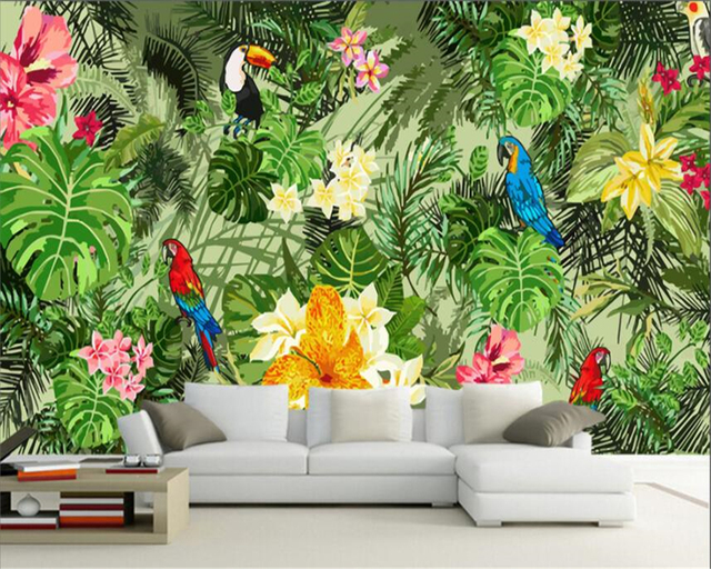 beibehang custom 3d wallpaper hand painted parrot tropical rain forest tropical plant background wall decoration 3d wall paper in wallpapers from home