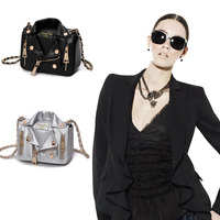 MONSTA X European Brand Designer Chain Motorcycle Bags Women Clothing Shoulder Rivet Jacket Bag Messenger Bag