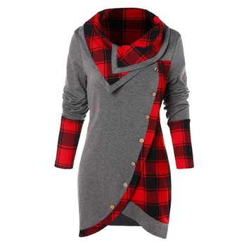 2019 Women Long Sleeve irregular Plaid printed Turtleneck Casual Tartan Tunic Button Sweatshirt Pullover Tops  juvenil mujer #VE