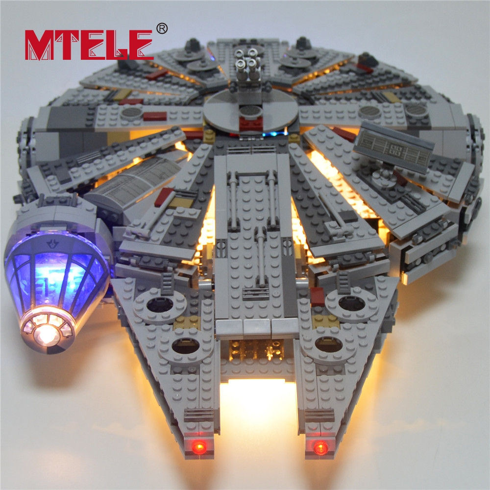 MTELE Led Light Building Blocks Set For Star Wars The Force Awakens Millennium Falcon Model 05007 Compatible with 10185 new 5265pcs star wars ultimate collector s millennium falcon model building kits blocks bricks kids toys compatible with 10179