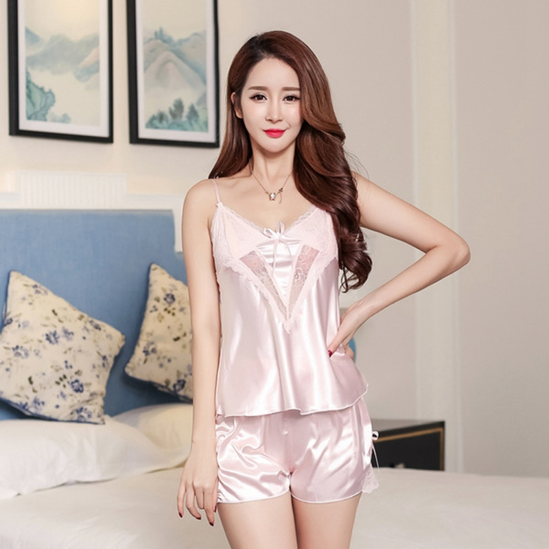 2 piece   pajama     set   Silk Women   Pajamas   Nightgowns Sexy Ladies Women Nighties pyjama femme Ice silk pj   set     pajama   shorts