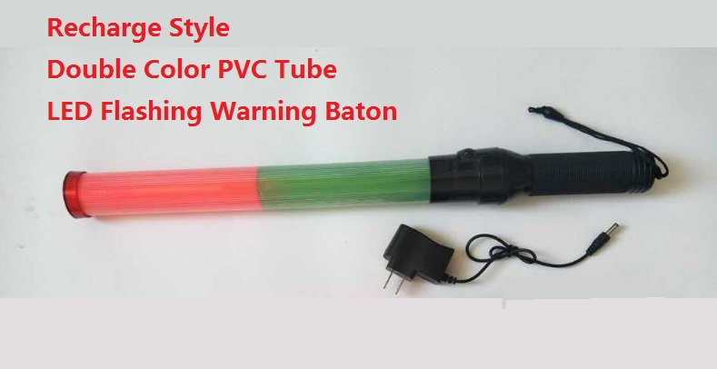 54cm*4cm Recharge Outdoor LED Warning Flashing Red And Green Traffic Baton 54cm 4cm outdoor led double color traffic warning flashing wand baton police ref baton safety signal command indicator tool