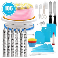 106pcs Cake Decorating Tool Turntable Cake Tips Cream Smoother Spatula Piping Nozzle Pastry Bag Decorating Pen Frosting Tool