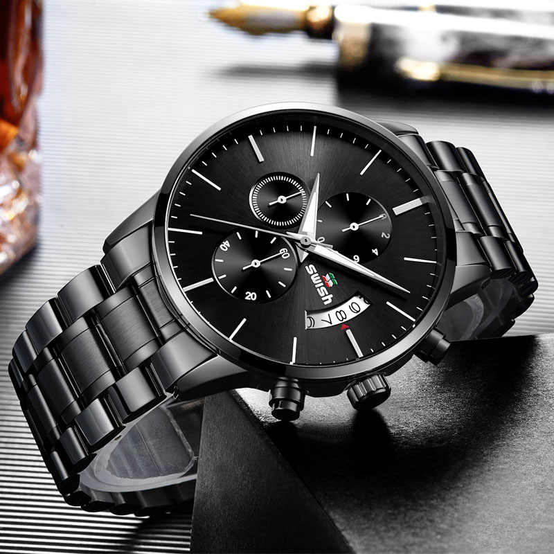 SWISH 2019 hommes étanche en acier inoxydable mode Sport Quartz montre horloge hommes montres haut marque de luxe homme montre-bracelet