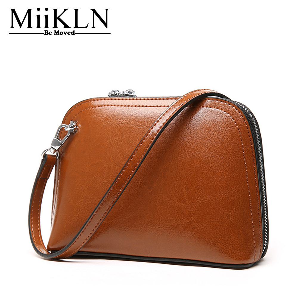 MiiKLN Water Proof Split Cow Leather Women Messenger Bags Brown Black White Pink Small Mini Ladies Shell Bag 2017 fashion all match retro split leather women bag top grade small shoulder bags multilayer mini chain women messenger bags