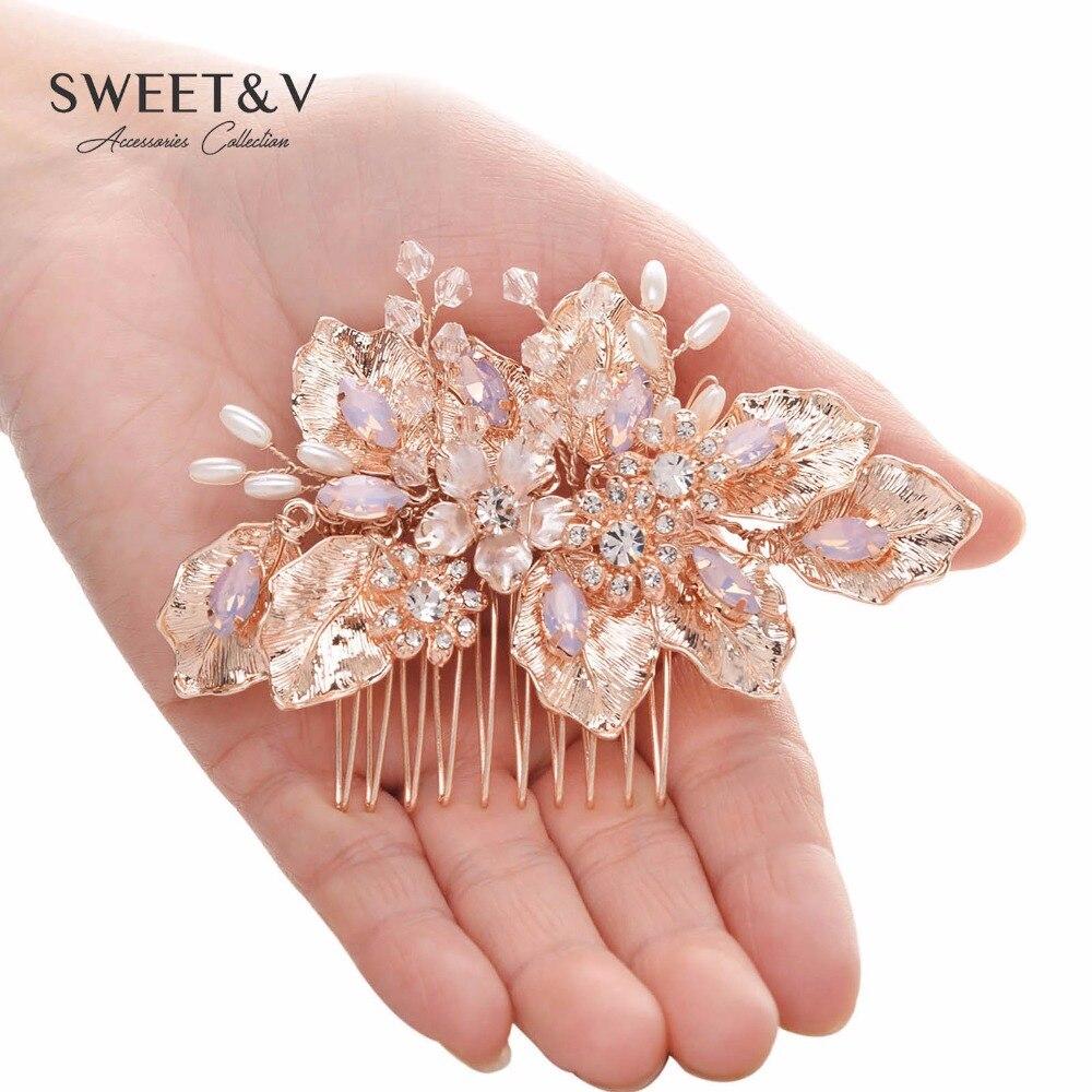 Rose Gold Wedding Comb, Handmade Bridal Hair Comb, Flower Hair ...