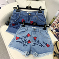 2017 summer new Korean national casual Rose embroidery cotton women denim shorts fashion waist Jean Shorts B4605