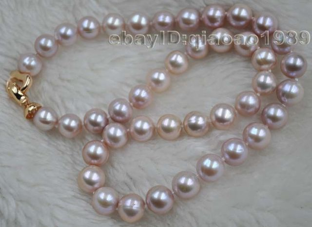 100% Selling Picture full AA 45cm long 9.5-10mm purple freshwater pearl necklace