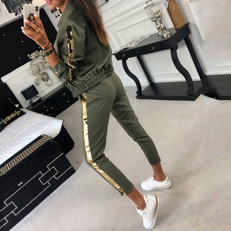 Taotrees Cotton Sequined Two Piece Outfits Zippers Jacket and Long Pants Set Sequin 2 Pcs Set