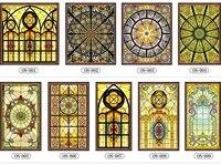 Custom No glue electrostatic scrubs translucent church stained glass windows and doors wardrobe furniture foil stickers 60x150cm