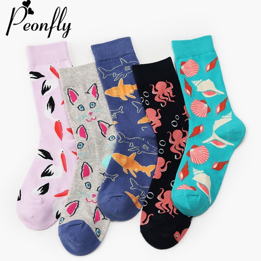 PEONFLY 2018 Funny women   Socks   Cozy Cotton Short   Socks   Originality Seafood Animal Shark Octopus Shell Cat Happy Male   Socks