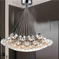 Modern Fashion Glass Ball Pendant Light Fixture Home Deco G4 Chrome Plated Bubble Ball Pendant Lamp