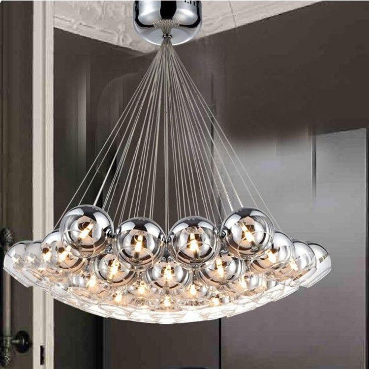 Modern fashion dia120mm glass ball pendant light fixture DIY home deco G4 LED bulb chrome plated bubble ball pendant lamp