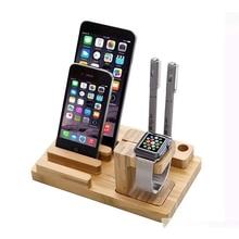 Держатели для мобильных телефонов iPhone универсальный дизайн деревянные подставки Смарт-часы Настольный телефон комплект бамбуковый дизайн